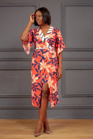 KOTON CORAL & NAVY FLORAL WRAP DRESS