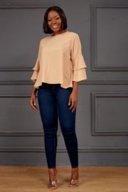 DOUBLE LAYERED SLEEVE BLOUSE - BEIGE