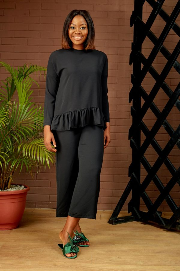 (30% OFF) BLACK FRILL HEM CULOTTE SUIT SET