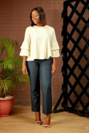 DOUBLE LAYERED SLEEVE BLOUSE - IVORY