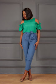 KOTON MARL BLUE BELTED HIGH WAIST CROP