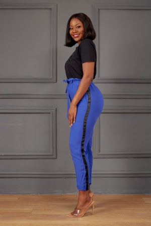 BLUE & BLACK STRIPE HIGH WAIST CROP PANTS