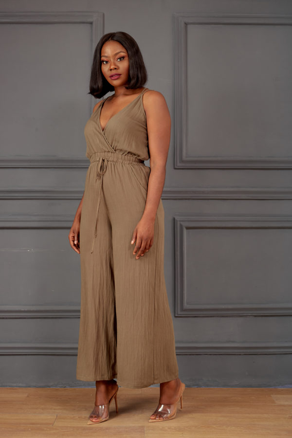 THIN STRAP KHAKI JUMPSUIT