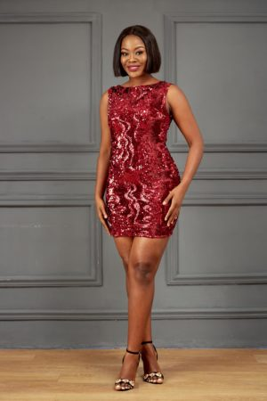 KOTON WINE SEQUIN CUT OUT BACK MINI DRESS