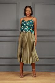 SILK PLEATED SKATER SKIRT - OLIVE