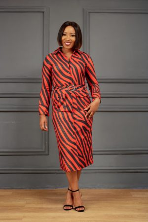 RED & BLACK ZEBRA PRINT SHIRT DRESS