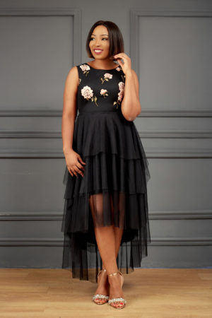ALAYA BLACK EMBROIDERED MESH LAYERED DRESS