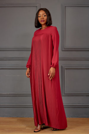 PLEATED MAXI DRESS - BURGUNDY