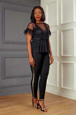 KOTON BLACK SHEER PEPLUM TOP