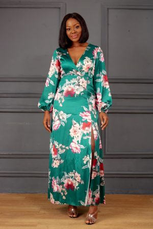 GREEN SILK FLORAL MAXI DRESS