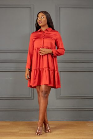 RUST SILK LAYERED SHIRT DRESS