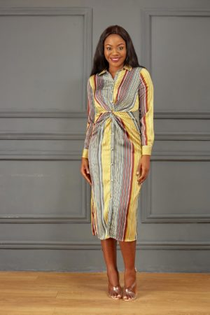 KOTON OLIVE SILK STRIPE KNOT SHIRT DRESS