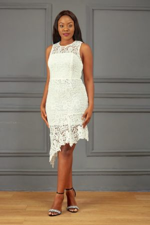 GUIPURE SLEEVELESS ASYMMETRIC DRESS - IVORY