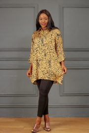 GOLD LEOPARD PRINT OVERSIZED TOP