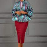 ABSTRACT PRINT PUSSYBOW PEPLUM BLOUSE