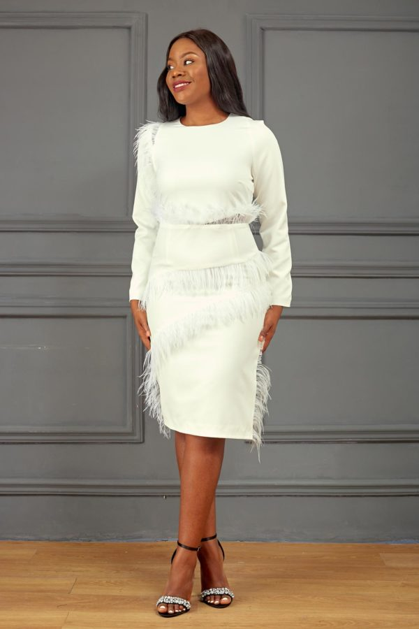 FEATHER INSERT MIDI DRESS - WHITE