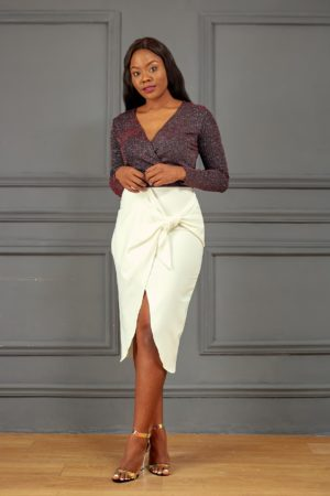IVORY BOW WRAP SKIRT
