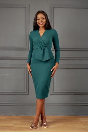 HANNAH HANDKERCHIEF MIDI DRESS - TEAL