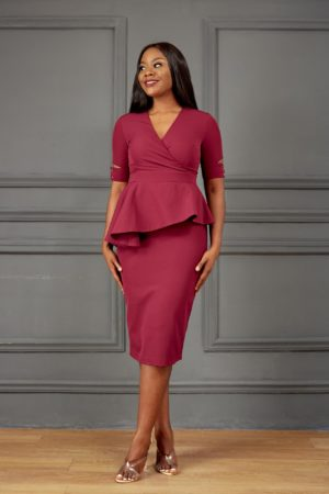HANNAH PEPLUM MIDI DRESS - MAGENTA