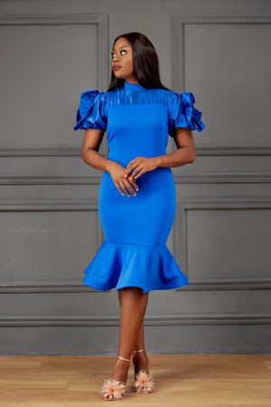 COBALT BLUE PEPLUM HEM DRESS