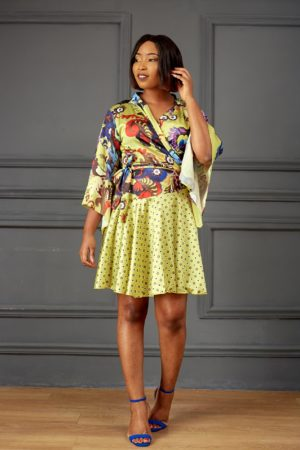 MULTI PRINT WRAP DRESS - LEMON