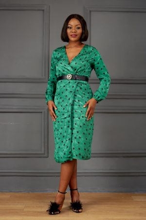 GREEN & BLACK SPOTTY WRAP DRESS