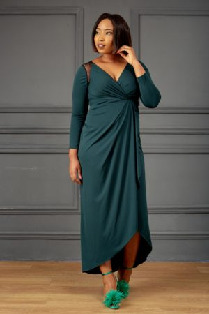TEAL JERSEY LACE INSERT WRAP MAXI DRESS