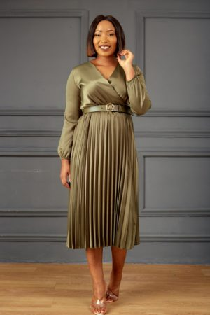 SILK PLEATED MIDI DRESS - OLIVE
