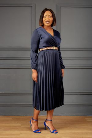 SILK PLEATED MIDI DRESS - NAVY