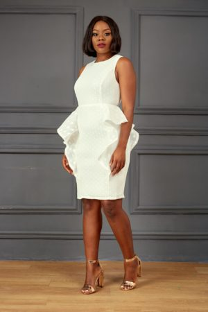 IVORY SLEEVELESS PEPLUM DRESS