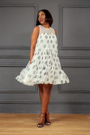 WHITE SPOTTY MESH LAYERED SWING DRESS