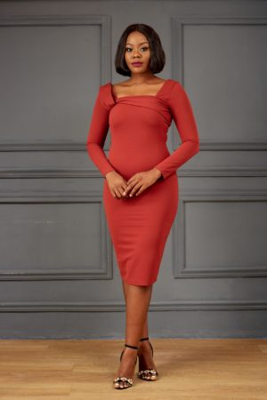 RUST SQUARE NECK LONGSLEEVE BODYCON DRESS