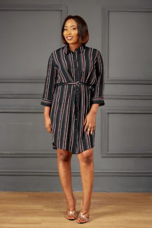 BLACK ,GREEN & RED STRIPE SHIRT DRESS