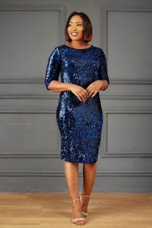 NAVY SEQUIN 3/4 SLEEVE BODYCON DRESS