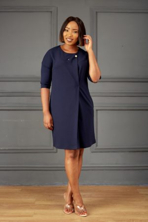 NAVY PEARL BROOCH SINGLE PLEAT TUNIC