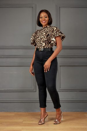 LOVESONG HIGH NECK FRILL TOP - ANIMAL PRINT