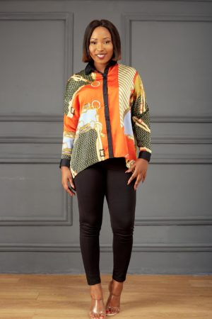 CHAIN PRINT PONCHO SHIRT - ORANGE