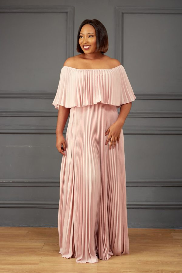 PLEATED BARDOT MAXI DRESS - PINK