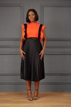ORANGE & BLACK COLORBLOCK PLEATED SHELL TOP