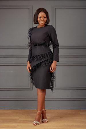 FEATHER INSERT MIDI DRESS - BLACK