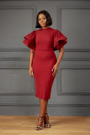 EXAGGERATED SLEEVE MESH BODYCON DRESS - MAROON