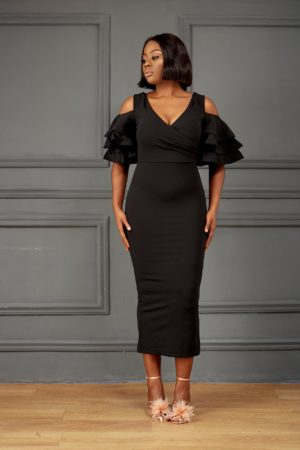 BLACK COLD SHOULDER FRILL SLEEVE MIDI DRESS