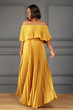 PLEATED BARDOT MAXI DRESS - MUSTARD