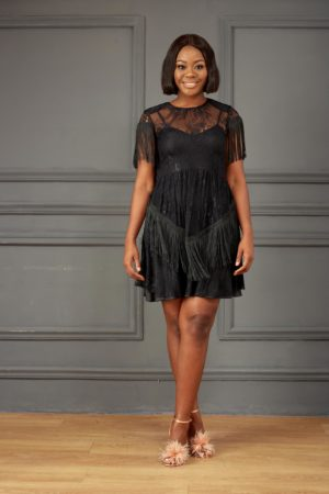 KOTON BLACK LACE FRINGE SKATER DRESS