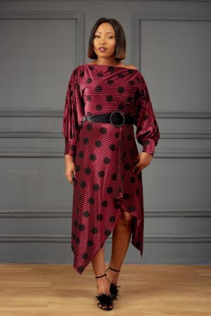 VELVET SPOTTY ASYMMETRIC DRESS - PLUM