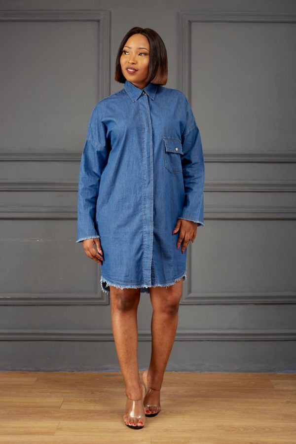 ANGELS DENIM FRONT POCKET SHIRT DRESS