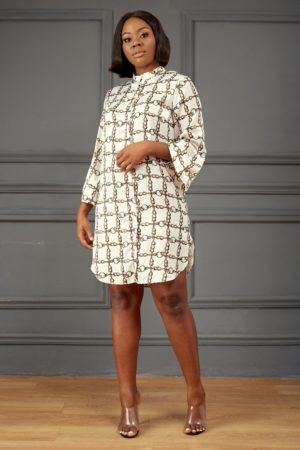 IVORY CHAIN PRINT SHIRT DRESS