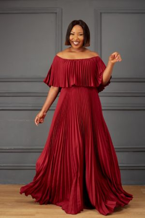 PLEATED BARDOT MAXI DRESS - BURGUNDY