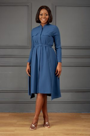 PETROL LONG SLEEVE DOUBLE POCKET SHIRT DRESS