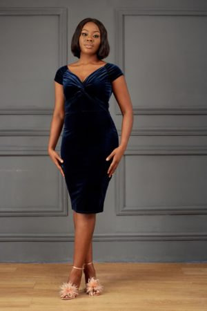NAVY VELVET KNOTTED FRONT BARDOT DRESS